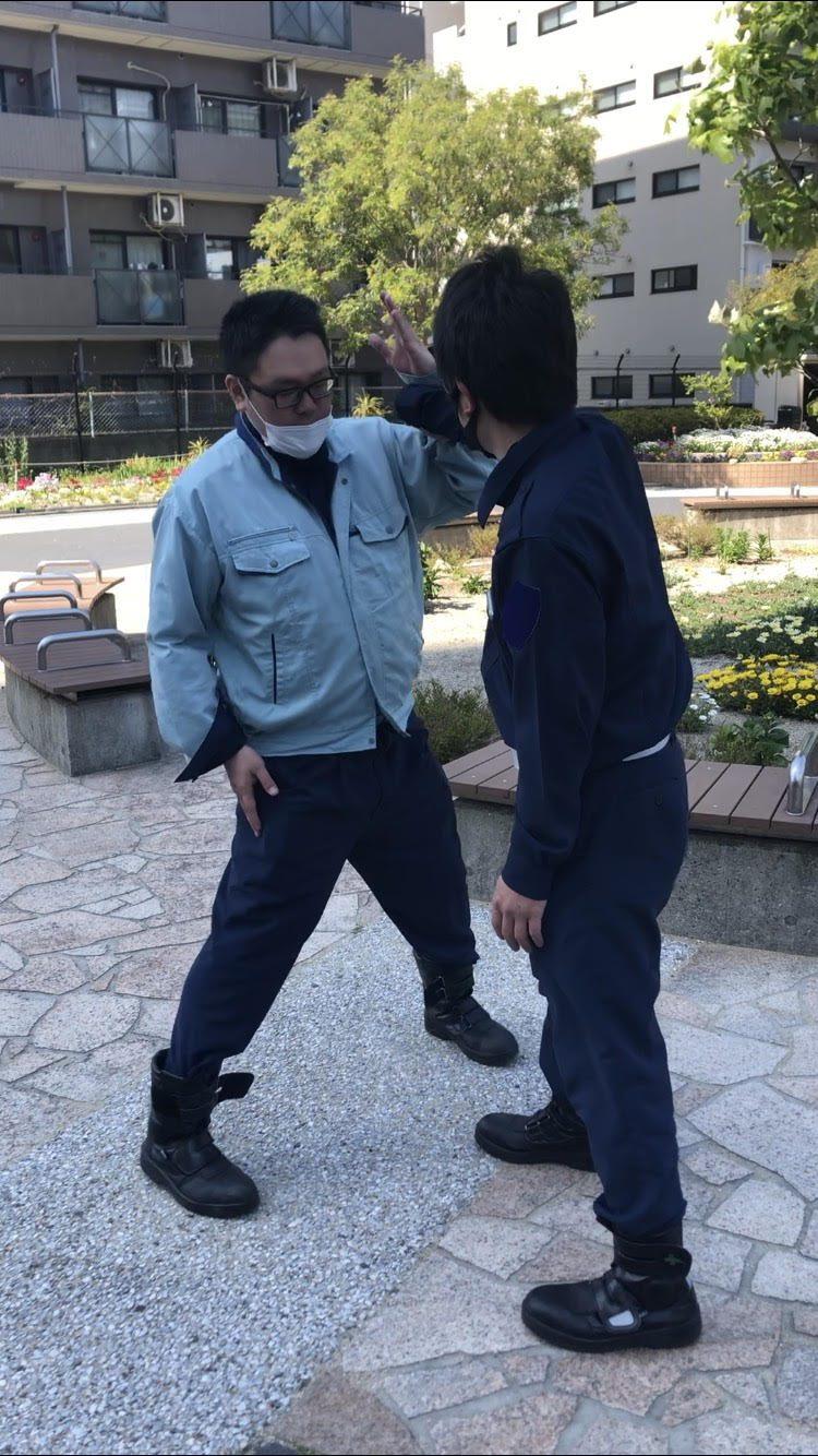 ATU 福岡 警備 徒手 片手内回し 手をあげる