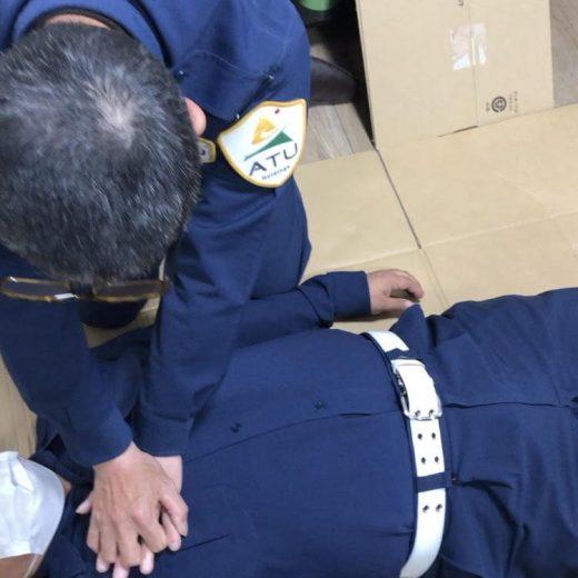 ATU 福岡 警備 普通救命講習 胸骨圧迫